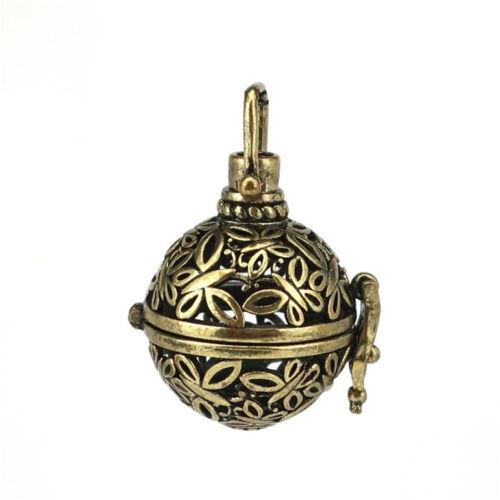 B254 bronze huile essentielle charme Diffuseur médaillon rond papillon perles cage