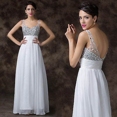 Backless Bridesmaid Wedding Evening Long Prom Dress Homecoming Formal Party Gown
