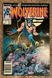 Wolverine #1 - Rare NEWSSTAND - 1988 Marvel [Liquidation Event]