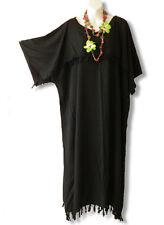 Black Solid Kimono Plus Size Caftan Kaftan Tunic Hippy Dress -2X, 3X, 4X & 5X