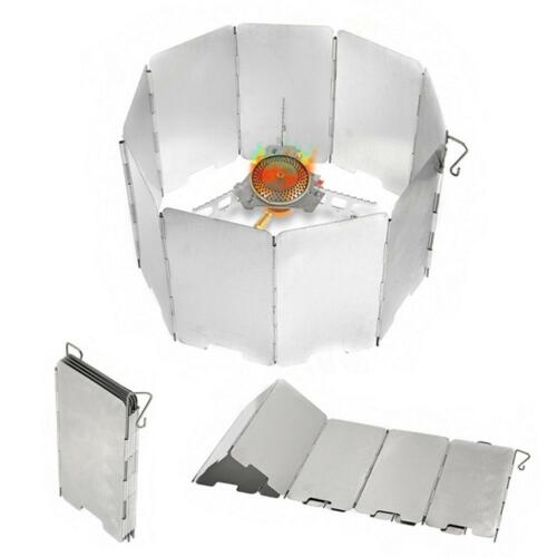 9 Plates Foldable Outdoor Camping Cook Cooker Gas Stove Wind Shield Deflector ~\