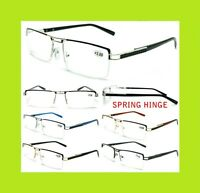 Men's Women's Unisex Metal Frame Semi Rimless Clear Lens Reading Vision Glasses