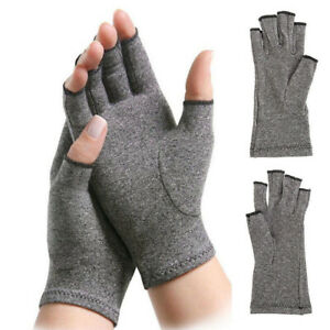 1Pair-Anti-Arthritis-Copper-Gloves-Compression-Fingerless-Therapy-Circulation