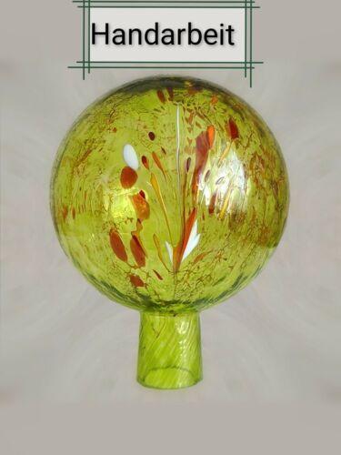 echte Handarbeit Gartenkugel//Rosenkugel aus Glas Zitronengelb 12 cm Lauscha