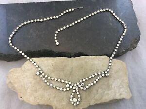 Vintage-Art-Deco-Sparkly-Crystal-Rhinestone-Statement-Necklace-Teardrop-Pendant