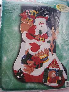 "Bucilla Christmas Holiday STOCKING FELT Applique Kit,DOWN THE CHIMNEY,28"",84079 46109840796 | eBay"