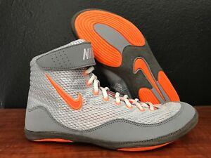 sports shoes 82cfe 95edd Image is loading Nike-Inflict-3-Wrestling-Shoes-Grey-Orange-Wrestler-