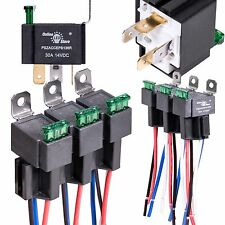 6 Pack OLS 30A Fuse Relay Switch Harness Set - 12V DC 4-Pin SPST, New