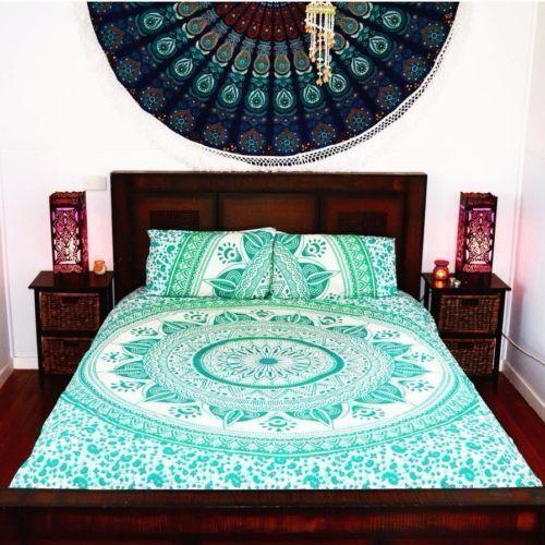 Indian Green Star Diya Ombre Mandala Tapestry Duvet Doona Cover Bohemian Bedding