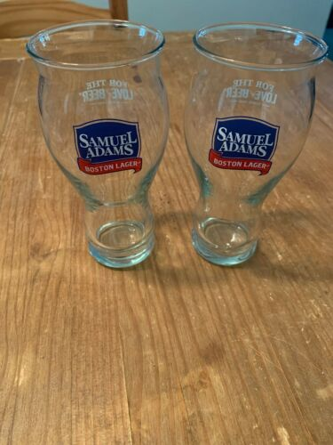Lot of 2 Sam Adams Boston Lager Glasses  For The Love Of Beer Pint Glasses New