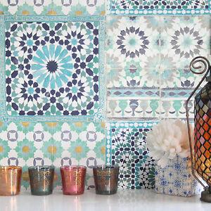 Gemusterte Fliesen marrakesh wiedergewonnen mosaik gemustert fliesen effekt tapete in