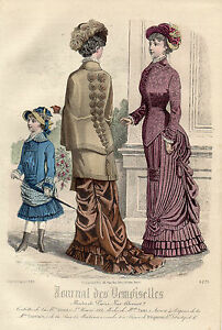 """76 / Gravure De Mode """" Journal Des Demoiselles """" 1880 Superbes Couleurs ! PréVenir Le Grisonnement Des Cheveux Et Aider à Conserver Le Teint"""
