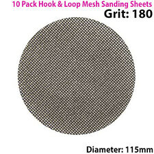 10x 180 Grit Silicon Carbide Mesh 115mm Round Sanding Discs –Hook & Loop Backing