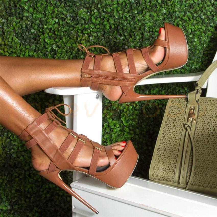 Neu Hollow Out Platform Stiletto 14.5cm hoher Absatz Sandalen Sexy Trend