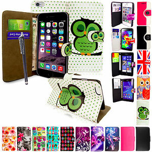 For-Various-Mobile-Phones-Printed-Magnetic-Flip-PU-Leather-Case-Cover-Stylus
