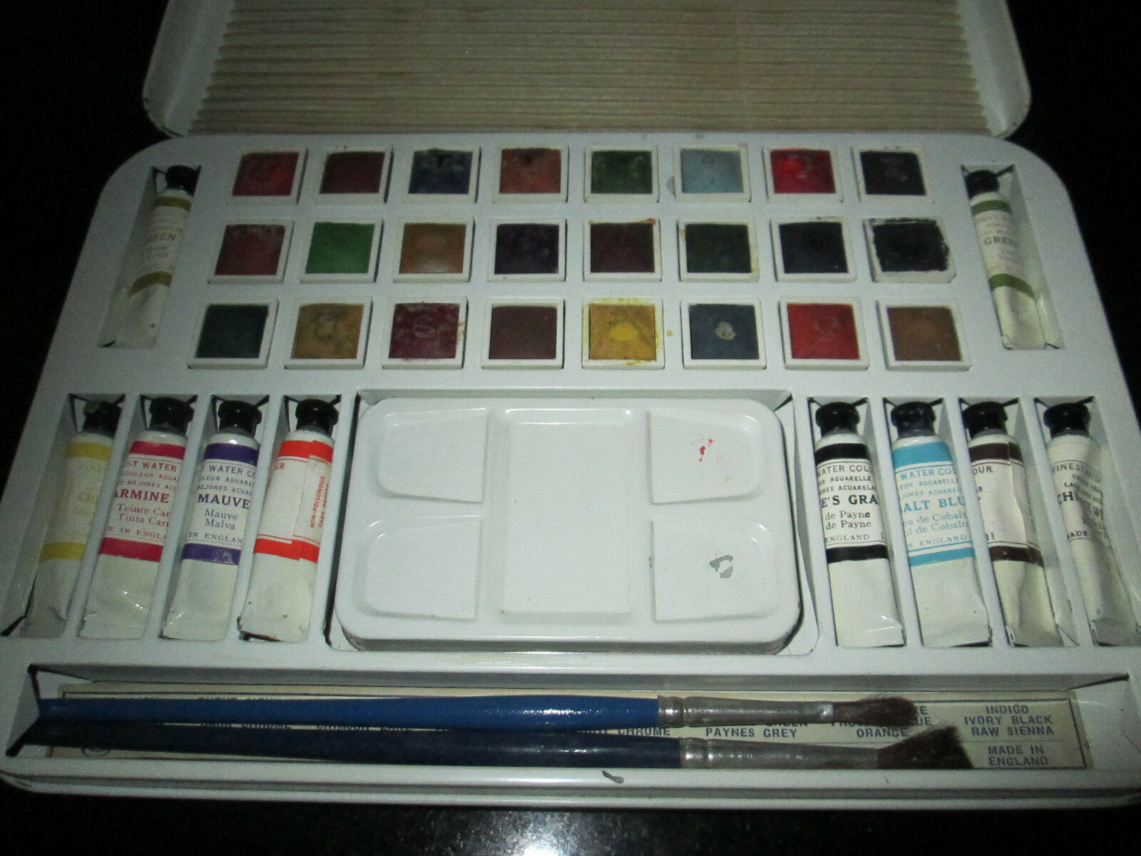 Vintage Paint Box Tin PAGE LONDON Collectable Watercolour Art Set
