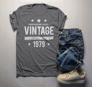 Men-039-s-40th-Birthday-T-Shirt-Original-Vintage-Shirt-Awesome-Since-1979-Gift-Idea