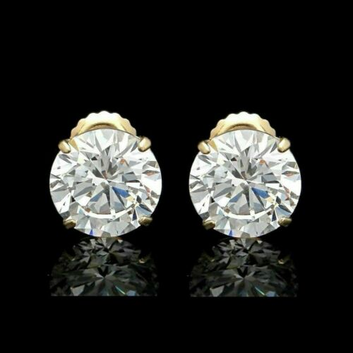 4 Ct Round Created Diamond Stud Earrings 14K Yellow Solid Gold Double Basket 8mm