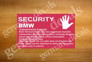 Bmw E28 E30 E34 E36 Autoradio Code Achtung Aufkleber Decal