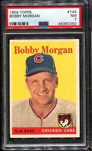 1958-Topps-Baseball-144-BOBBY-MORGAN-Chicago-Cubs-PSA-7-NM