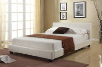 Roma Cheap 4ft6 Double White Modern Designer Faux Leather Bed Frame Sale