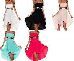 Damen Kleid Club Sommer Festlich Abend Chiffon Party Cocktailkleid kurz Empire