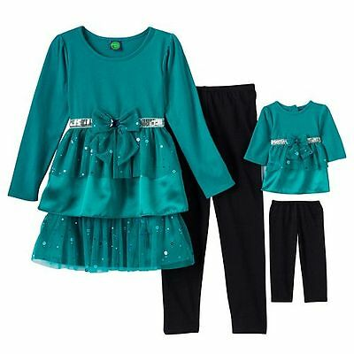"""Dollie Me Girl 4-14 and 18/"""" Doll Matching Teal Velvet Tunic Outfit American Girl"""