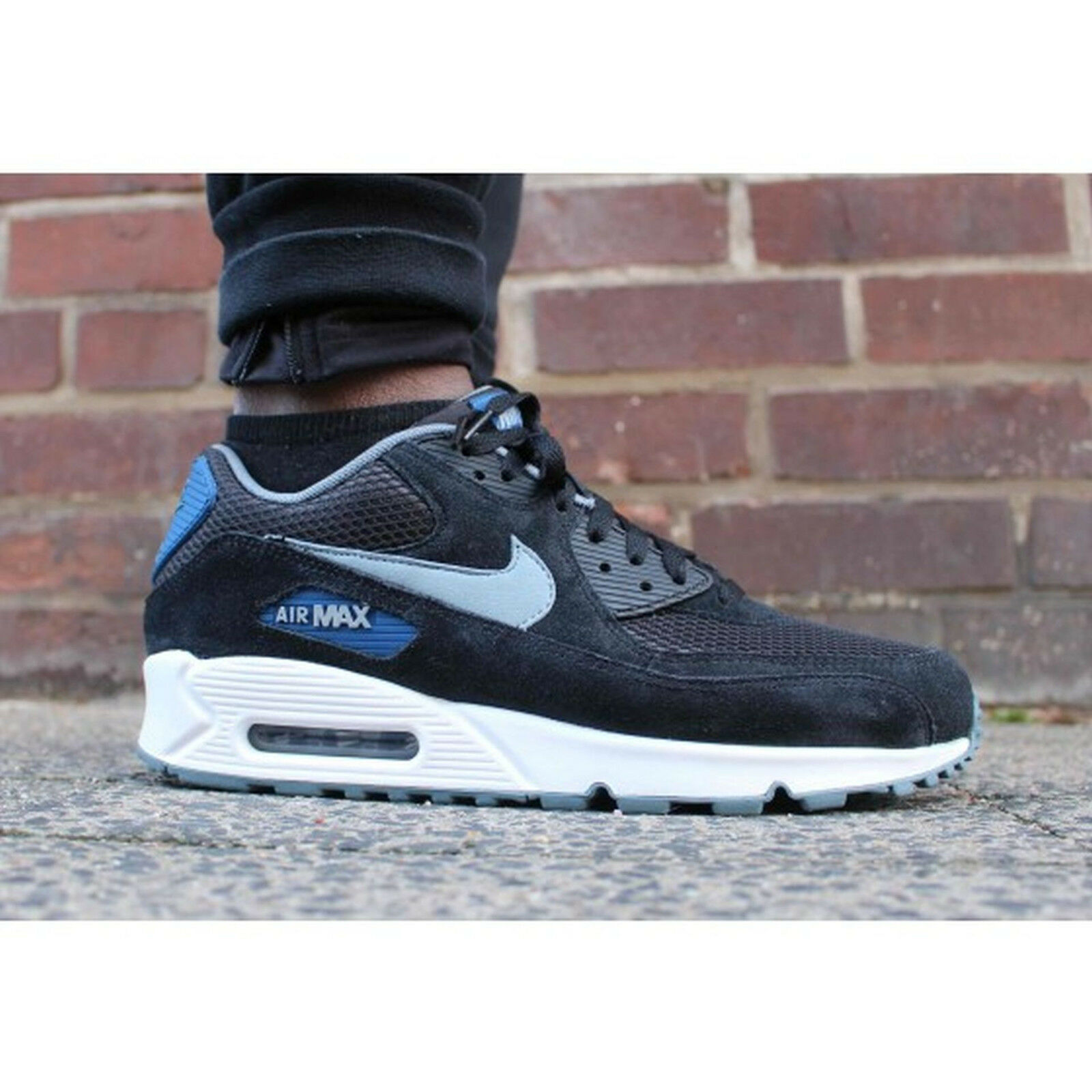 NIKE AIR MAX 90 90 90 ESSENTIAL Mens Size 13 Black Grey- bluee-bluee-Graphite 537384-041 be23e8
