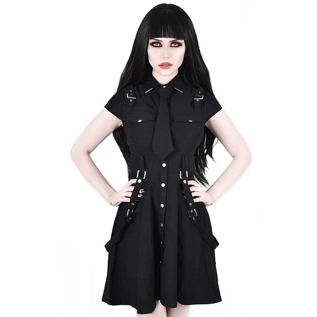 Kill Star gothic goth punk miniabito skater abito 13th Infantry cinghie fibbie