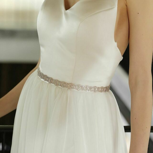 Thin Rose Gold Crystal Bridal Sash Alloy Rhinestone Wedding Dress Belts Sashes For Sale Online
