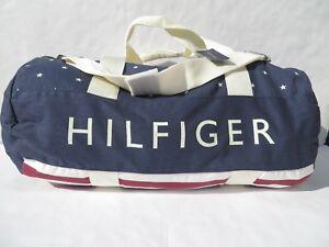 Tommy Hilfiger Large Gym Bag Duffle US FLAG Women Men handbag Navy Blue Red NEW
