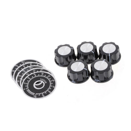 5X Black Rotary Potentiometer Knöpfe Caps mit 5Pcs Zählrad 0-100 Skala 1A D