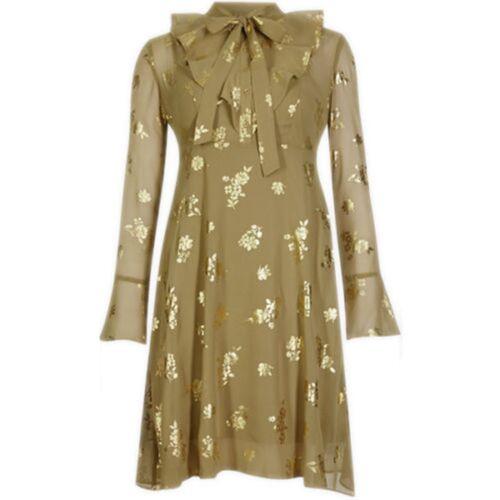 Nouveau Ex m/&s Gold Floral Parti Bureau Soirée Doublé Shift Robe Chemisier Taille 8-22