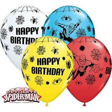 "10 x Marvels Ultimate Spiderman Happy Birthday 11"" Qualatex Latex Balloons"