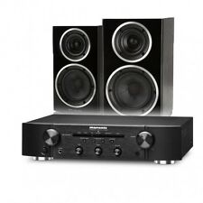 Marantz PM5005 Amp+Wharfedale Diamond 220 Speaker Bundle Package Black+QED79-5M