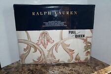Ralph Lauren FULL/QUEEN Duvet Cover GUINEVERE Floral Cream 100% Cotton 92 X 96