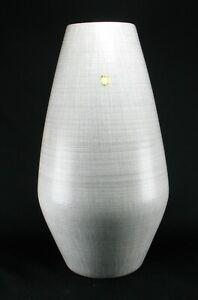 Grosse-Fohr-Keramik-Vase-Bodenvase-50er-Jahre-mid-century-mcm-wgp-grau-weiss-edel