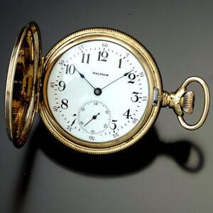 Womens-Waltham-Hunter-Case-Pocket-Watch-6-Size-Gold-Filled-Case-7-Jewel-CA1900