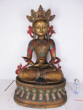 ORIGINALE età medicina Buddha Tara dipinta bronzo inciso Tibet prima 1960 47cm