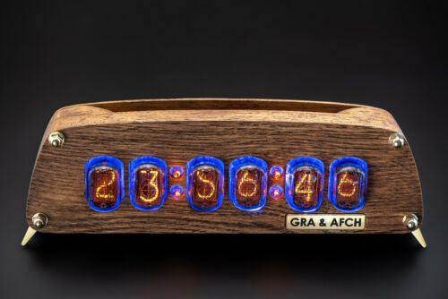 IN-12 Nixie Tubes Clock in Brushed Oak Case GRA/&AFCH UPS FAST DELIVERY 3-5 days