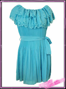 Ladies-Womens-Plus-Size-Turquoise-Long-Pleated-Top-New-UK-16-Blue-New