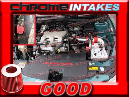 RED 99-05 PONTIAC GRAND AM//OLDSMOBILE ALERO 3.4 3.4L V6 FULL COLD AIR INTAKE 3p