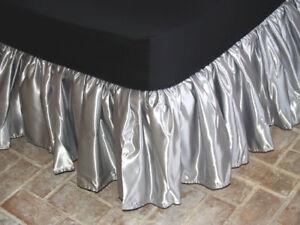 Image Is Loading E King Size Bridal Satin Dust Ruffle Bedskirt