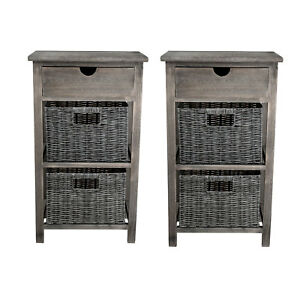 Image Is Loading 2 Wooden Bedside Tables Cabinet 3 Wicker Drawers