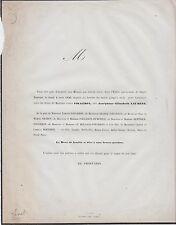 1856 Faire-part messe pour Mme FOUGERON née Joséphine-Élisabeth LAURENT  Orléans