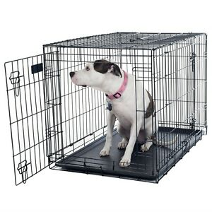 2-Door-Medium-Metal-Dog-Cage-Crate-Foldable-Portable-30-x-19-x-21-Inches