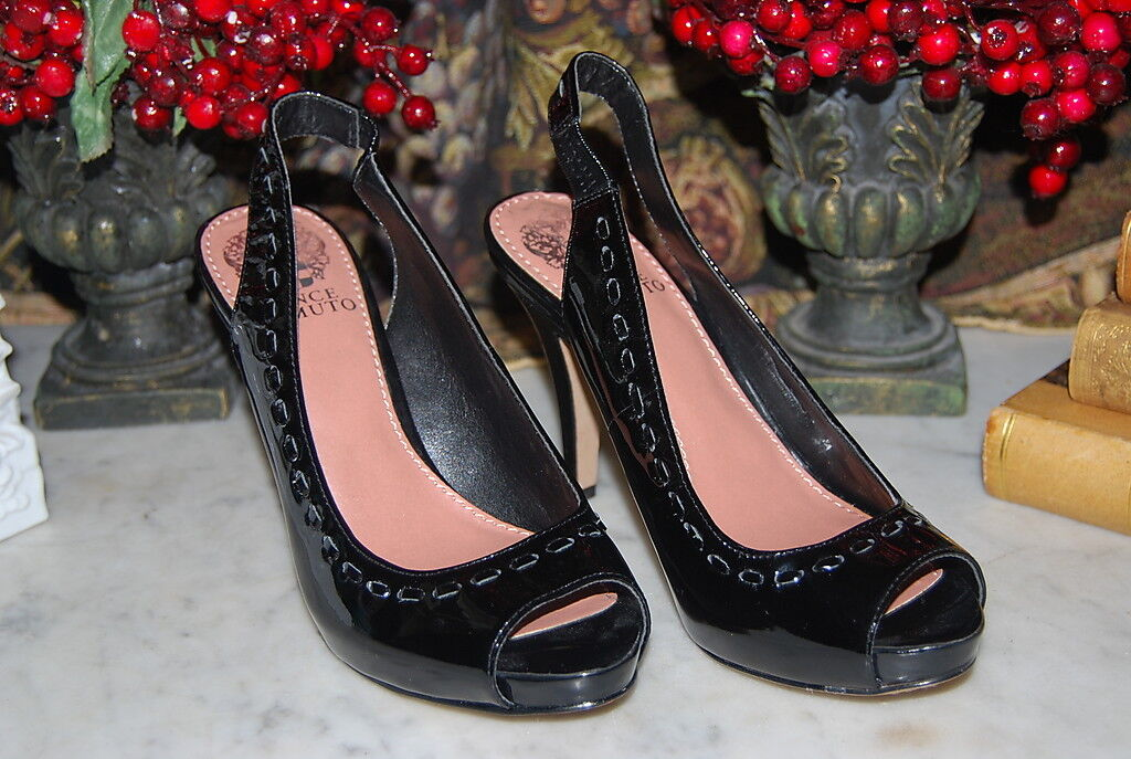 VINCE CAMUTO BLACK PATENT LEATHER OPEN TOE SLING BACK WOMEN'S HEELS NWOB SZ 6 M