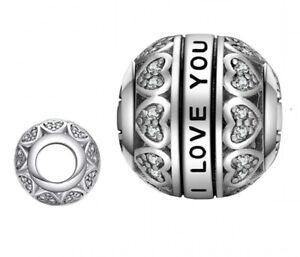Charm Anhänger für Pandora Liebe,I Love you, Herz Kugel 925 Silber