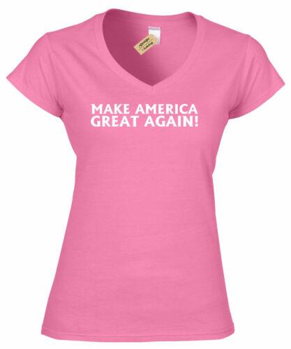 Make America Great Again Donald Trump President Ladies V-Neck T Shirt womens top