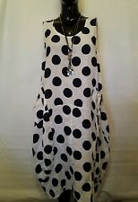 LAGENLOOK NEW QUIRKY polkadot TULIP,parachute,pocket,LINEN DRESS/TUNIC CHEST46""